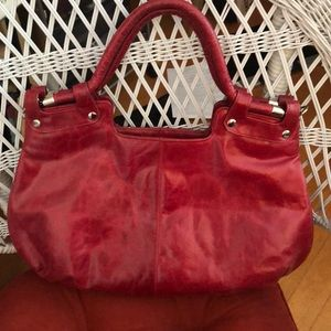 Red leather with silver trim shoulder bag